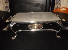 RARE WILLIAM SUCKLING SILVER PLATED WARMER STAND + ALUMINIUM TRAY TOP 1492